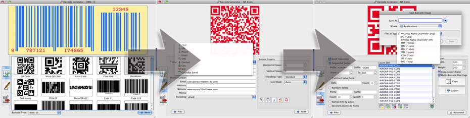 barcode and qr code generator, maker, creator.