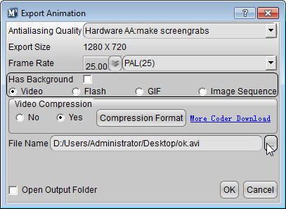 Aurora 3D Maker (Mac & Windows) Export Animation