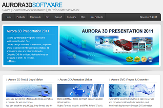 Aurora3D Software Presentation Website