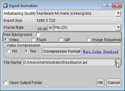Aurora 3D Maker (Mac & Windows) Export Animation