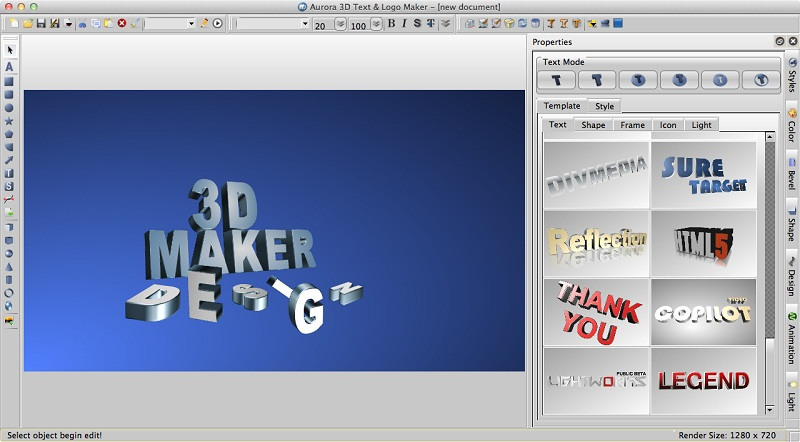 Aurora 3D Maker For Mac OS Screenshot